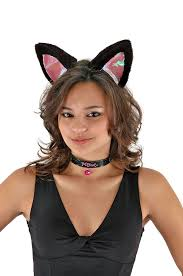 cat ears collar and tail black pink kid and costume kit