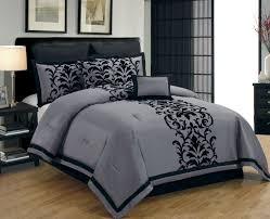 Damask Print Comforter Luxury Bedroom Design With Grey Faux Silk Flocking Damask Print