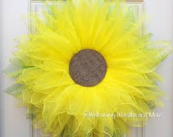 Sunflower Mesh Wreath Mesh Sunflower Etsy
