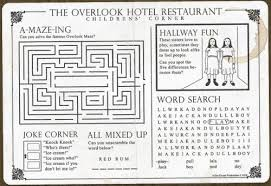 kids placemats the kids placemat handed out in the restaurant at the shining