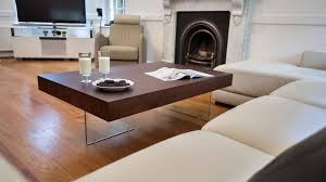Floating Table Large Modern Dark Wood Coffee Table Clear Glass Legs Uk