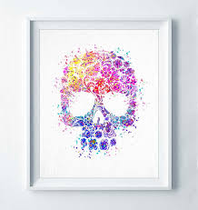 Sugar Skull Print Watercolor Modern Poster Abstract Nursery