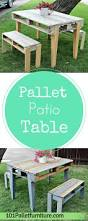 Pallet Patio Furniture by Diy Pallet Patio Table With Benches Pallet Furniture