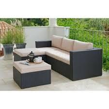 3 Seater Corner Sofa Rattan Effect 3 Seater Mini Corner Sofa Black Amazon Co Uk