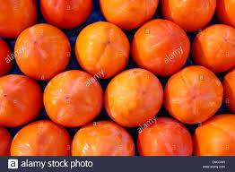 arrangement fruit persimon fruits pattern in rows arrangement fruit stock photo