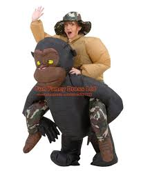 Rapunzel Halloween Costume Adults Funny Inflatable Riding Gorilla Costume Funky Hat King