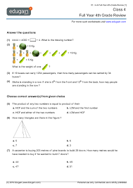 class 4 math worksheets and problems full year 4th grade review