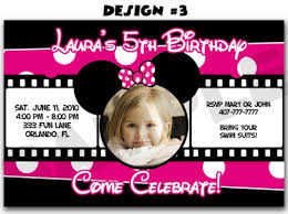 minnie mouse photo first birthday party invitations mickey diy