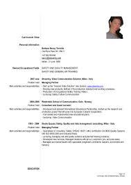 Position Desired Resume Formal Cv Tornello