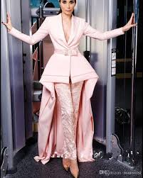 evening jumpsuits pink sleeve jumpsuits evening dresses v neck with sash