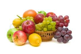 fruit in a basket fresh fruit in a basket isolated on white up stock photo