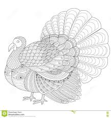 detailed zentangle turkey for coloring page for stock vector