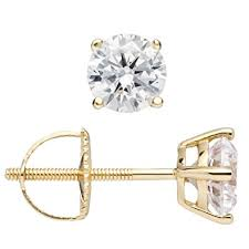 post back earring 14k solid yellow gold cut cubic zirconia stud