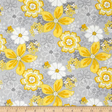 Yellow And Grey Home Decor Gray Matters Floral Multi From Fabricdotcom Designed By Jackie