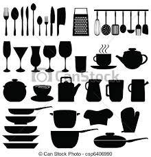 dessin ustensile de cuisine ustensiles objets cuisine ustensiles objets noir clipart