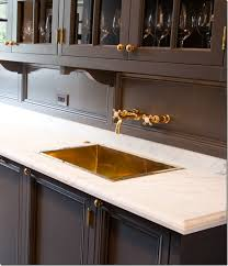 Wet Bar Sink And Cabinets Butler U0027s Pantry Marble Countertop Brass Sink And Dark Paint