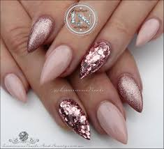rose gold nails and pink nail art glitter designed in french tips