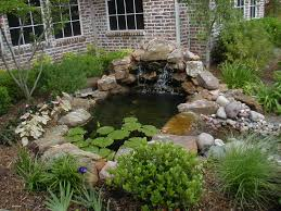 outdoor fish pond waterfalls house exterior and interior the yard