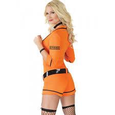 Prisoner Halloween Costumes Orange Black Inmate Jumpsuit