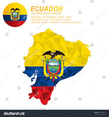 Map Of South America With Capitals Ecuador Flag Overlay On Map Polygonal Stock Vector 631457372