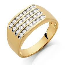 mens gold rings men s ring with 1 carat tw of diamonds in 10kt yellow gold
