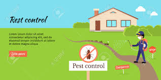 pest control vector web banner flat design man in uniform with