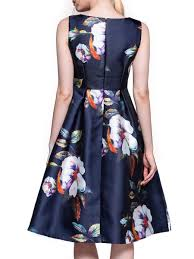 navy blue floral sleeveless printed party dress popjulia com