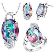 accessories ring necklace images Womens fashion ring necklace and earrings set rainbow austrian jpg
