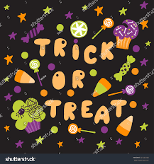 trick treat halloween poster cartoon bright stock vector 321223199