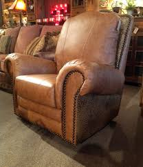 tooled leather swivel glider recliner rustic leather recliner