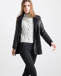 janet bonded leather coat quinn