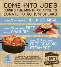coupons for joe s crab shack crab shack partners with autism speaks