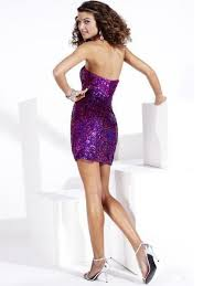 strapless short sheath purple sequined clingy skirt cocktail