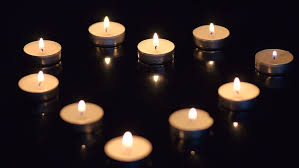 small candles burning on the table stock footage 14307199