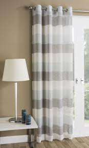 Contemporary Drapery Panels Mykonos Striped Eyelet Sheer Voile Ring Top Window Door Curtain