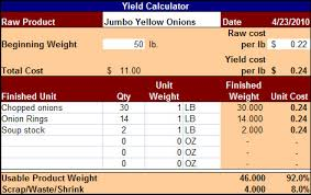 Food Cost Spreadsheet Free by Food Cost Yield Calculator