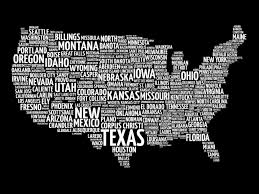 Vector Usa Map by Usa Map Word Cloud With Most Important Cities Royalty Free