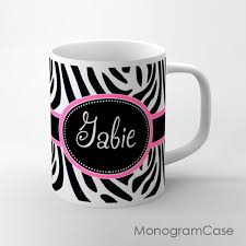 mug design zebra animal print monogrammed tea mug design monogramcase