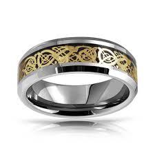 Tungsten Wedding Rings by Celtic Dragon Inlay Tungsten Wedding Ring 8mm