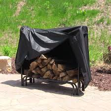 4 foot log rack outdoor firewood storage with black cover for