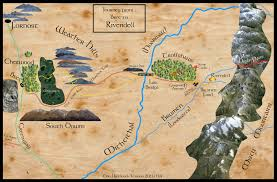 map of the lord of the rings map of frodo s journey from to rivendell from lord of the rings
