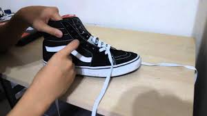 shoelace pattern for vans how to lace sk8 hi s and vans eras authentics youtube