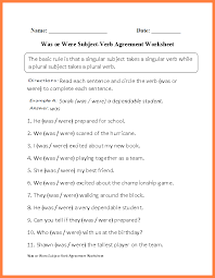 worksheets on subject verb agreement for 5th grade worksheets