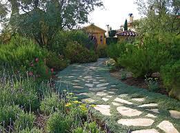 drought tolerant landscape design plans with stone grass steps