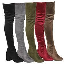 s high boots beston s stretchy snug fit zipper block heel the knee