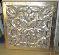 asian carved wood wall gold leaf decor panel floral wood wall