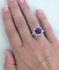 amethyst wedding rings gorgeous 10mm cushion cut amethyst and micro pave diamond ring in