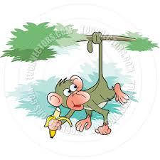 monkey eating banana vector illustration by lal perera toon