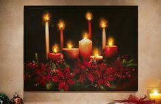 lighted canvas art with timer led lighted flickering candles and leaves canvas wall art 12 x 12