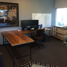Custom Made Office Desks Custom Desk L Shaped Made Of Reclaimed Wood And Iron Pipe Legs